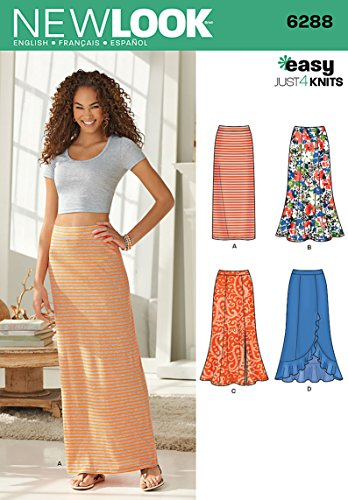Simplicity New Look Easy Just 4 Knits Pattern 6288 Misses Pull on Knit Skirts, Sizes (Knit Ruffle Pattern)