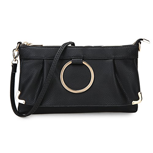 Long adjustable Wallet Purse Black Chic Bag 1 with Stylish Shoulder Grab and bags 2 Design Wrist detachable Baguette LS in Strap wBUq08TA