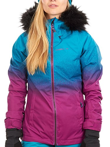 O Neill Curve Womens Snowboard Jacket Large Pink AOP ()
