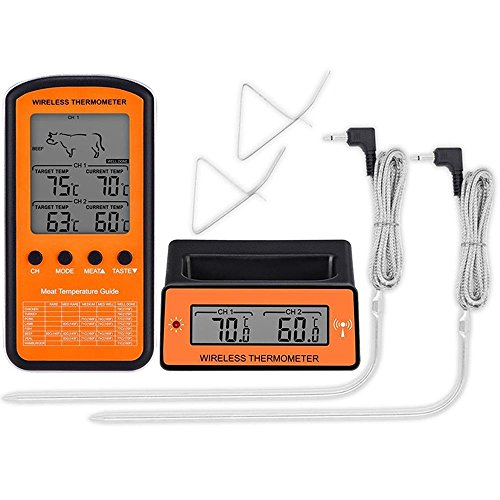 WSHA Wireless Remote Dual Probe Digital Cooking Meat Food Oven Thermometer...