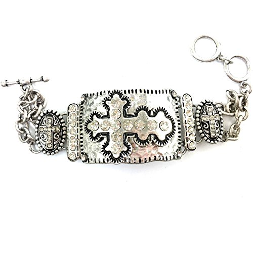 (Western Peak Western Vintage Tritone Hammered Plate Cross Chain Rhinestone Charm Bracelet (Silver))