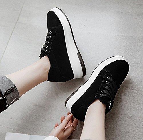 Aisun Femme Mode Lacets à Baskets Noir Fermeture rrnq1x7Rd
