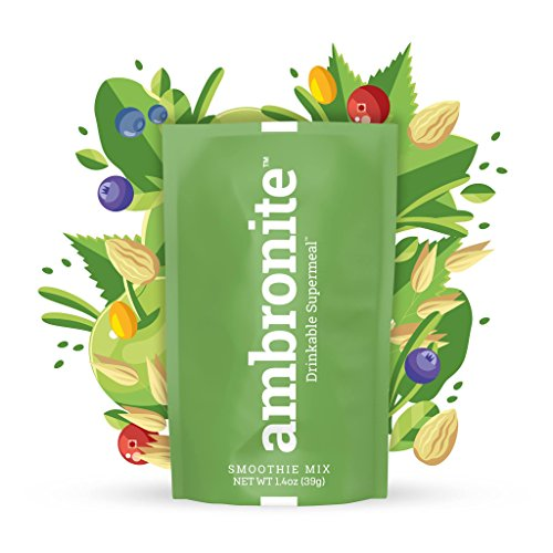 Meal Replacement Nutritional Shake by Ambronite - High Fiber Superfood & Protein Drink for Healthy Weight Loss - All Natural Smoothie Mix for Men and Women - Quench Hunger, 1.4 oz, 165 cal, Pack of 20