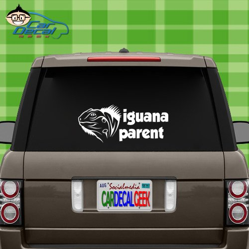 (Iguana Parent Vinyl Decal Sticker for Car Truck Window Laptop MacBook Wall Cooler Tumbler | Die-Cut/No Background | Multiple Sizes and Colors, 8-Inch, Green)