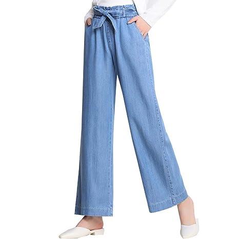 HOQTUM Pantalones Anchos de Mezclilla Pantalones elásticos ...