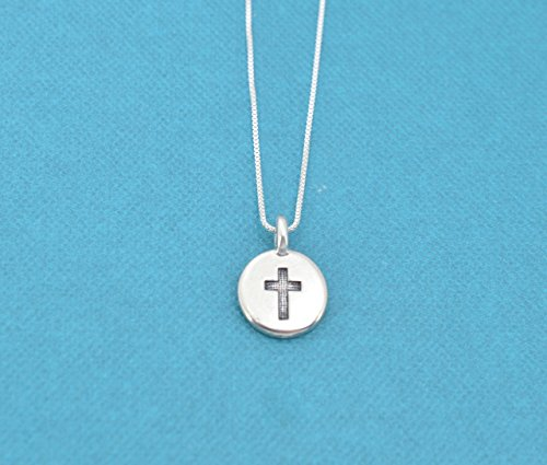 Little girls, girls, or teens cross necklace in silver plated pewter on a 16
