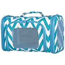 Ever Moda Teal Chevron Print Soft-Sided Pet Carrier 18-inch