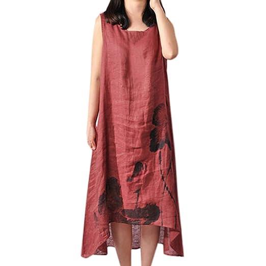 b0d876b186 Amazon.com  Womens Summer Dresses WANQUIY Summer Dress Women s Plus Size  Cotton Linen Vintage Asymmetrical Maxi Dress  Clothing