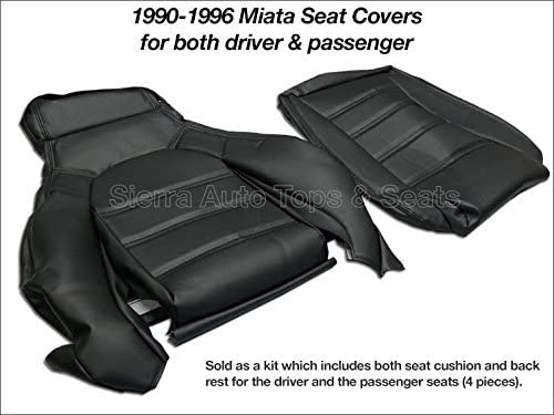 Sierra Auto Tops Mazda Miata Front Seat Cover Kit for 1990-1996 Standard Seats Black Driver and Passenger Included Simulated Leather Black