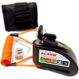 Bibowa Disc Brake Lock with Alarm - Anti -Theft Disc Lock Motorcycle Alarm with 110dB Alarm Sound 5ft Reminder Cable and Pouc
