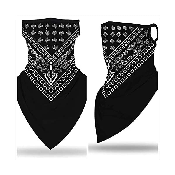 3pcs Bandana Face Scarf Earloops Balaclava Men Women Neck Gaiters Motorcycle Mask for Dust Wind Outdoors Sports