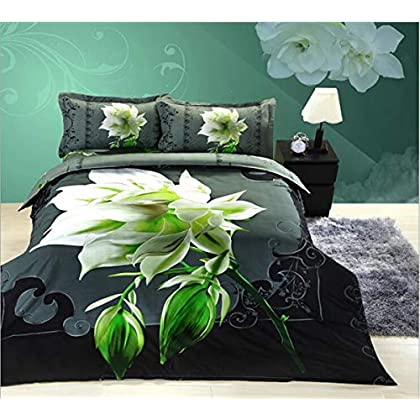 Image of Home and Kitchen HUROohj 3D,The New Bedding Four Sets,European Style,Bedding Kits( 4 Pcs) for Bed Size Twin/Queen/King,-Queen