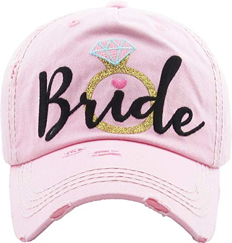 MIRMARU Women's Bridal Baseball Caps- Bride Tribe Distressed Washed Vintage Embroidered Bachelorette Wedding Party Hat (Bride-Pink&Black)