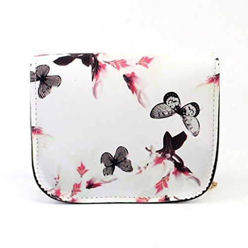 Outsta Butterfly Flower Printing Handbag,Women Shoulder Bag Tote Messenger Bag Phone Bag Coin Bag Travel Backpack Bucket Bag Classic Basic Casual Daypack Travel (White) by Outsta (Image #1)