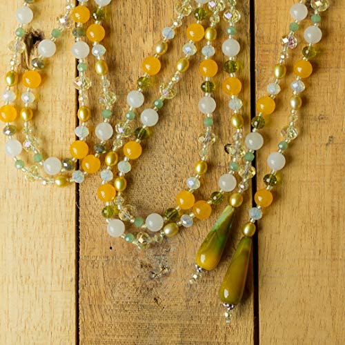 "60"" Long Green, White & Yellow Agate, Jade & Crystal Lariat Y Wrap Wraparound Multi-Wrap Necklace"