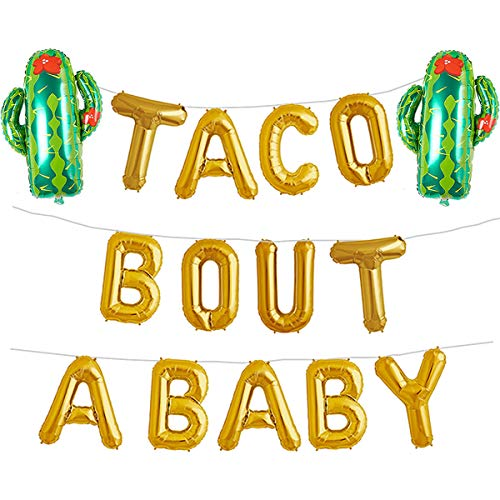 Taco Bout A Baby Gold Balloons Banner Fiesta Cactus Baby Shower First 1st Birthday Party Decorations Supplies Theme Boy or Girl Gender Reveal Pregnancy Announcement Letter Balloon