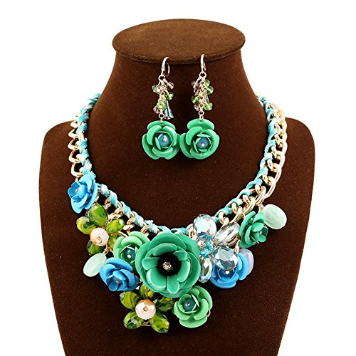 truecharms Women's Luxury Fashion Jewelry Sets Evening Party African Beads Jewelry Set Suspension Crystal Flower Earring Necklace Set (Green) - Green Necklace Set For Women
