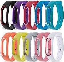 Zacro 10 Pcs Xiaomi Mi Banda 2 Correa de Recambio Colorido,Respuesto Impermeable Brazalete con 10 colores varios, Correa de reloj para Xiaomi Mi Band 2