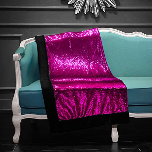 Pop Shop Mermaid Sequin Throw Blanket, Pink rev to Gold (Sequin Blanket Throw Gold)