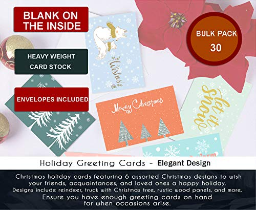 SUPHOUSE Christmas Happy Holiday Family Greeting Cards Boxed Set of 30, 6 Assorted Winter in Snow Festive Color Classy Design Blank On the Inside, Envelopes and Sealing Stickers Included Photo #6