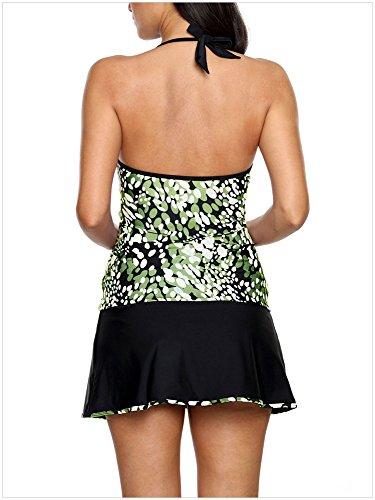 Pour Motif pièces Été bas Impression Cordons Moyenne Coupe Femmes Deux Réglables Taille Sexy Vert Bikini K1Jcu3FTl
