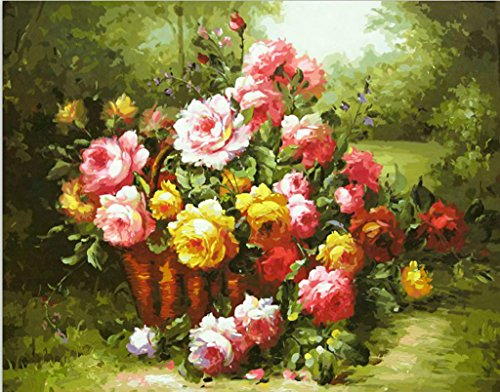 MailingArt Wooden Framed Paint By Number Flowers No Mixing / No Blending Canvas DIY Painting - Classical Flowers (E01)