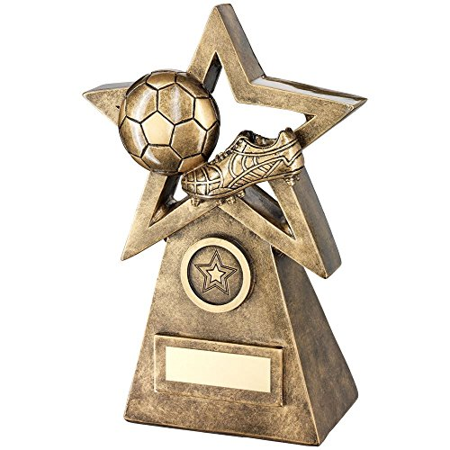 Lapal Dimension BRZ/GOLD BALL/BOOT ON STAR AND PYRAMID TROPHY - (1in CENTRE) 9.5in