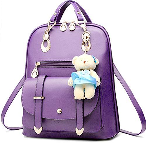 Purple PetHot PU Leather College Backpack Shoulder Bag Girl Travel qA4Pq