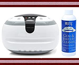 Ultrasonic Jewelry Cleaner By Bogue Systems + Blitz Liquid Jewelry and Gem Cleaner
