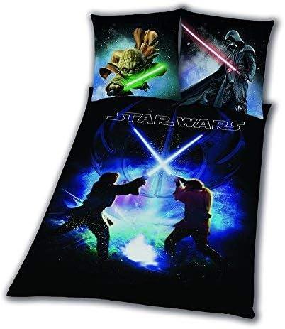 All-In-One-Outlet-24 Linge de Lit Lisse Star Wars 8 Schwertkampf Rey Finn Tico Yoda 135 X 200 Neuf Wow