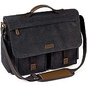Messenger Bag for Men, VASCHY Vintage Water Resistant Waxed Canvas Satchel 15.6-17 inch Laptop Briefcase Shoulder Bag…