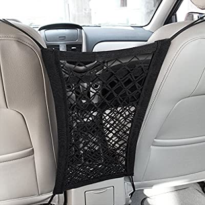 MICTUNING Upgraded 2-Layer Universal Car Seat Storage Mesh Organizer - Mesh Cargo Net Hook Pouch Holder for Purse Bag Phone Pets Children Kids Disturb Stopper: Automotive