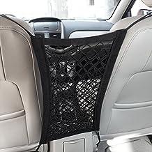 MICTUNING Upgraded 2-Layer Universal Car Seat Storage Mesh/Organizer - Mesh Cargo Net Hook Pouch Holder for Purse Bag Phone Pets Children Kids Disturb Stopper