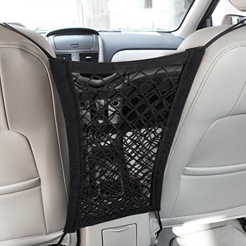 mictuning upgraded 2 layer universal car seat storage mesh organizer mesh cargo net hook pouch. Black Bedroom Furniture Sets. Home Design Ideas