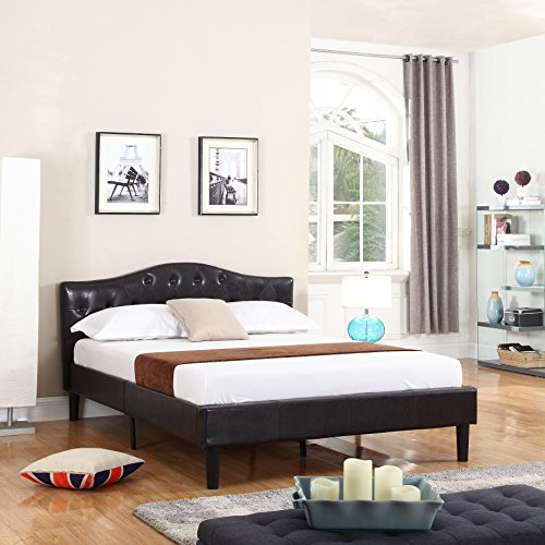 Divano Roma Furniture Classic Deluxe Bonded Leather Low Profile Platform Bed Frame with Curved Headboard Design and Button Details - Fits Full Mattresses - Espresso Brown