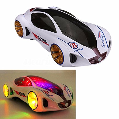 PUQU 3D Music Lighting Super Car Automatic Steering Flashing Wheel Sound Racing Electric Toy Kids Christmas Gift
