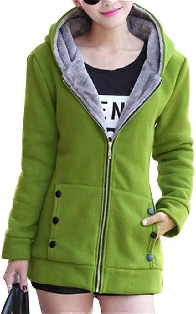 Morton PegfwaS Womens Hoodies Warm Long-Sleeved Coats Plus Fleece Sweaters