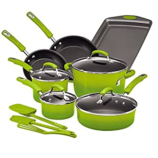 Rachael Ray Brights Nonstick Cookware Pots and Pans Set, 14 Piece, Green Gradient