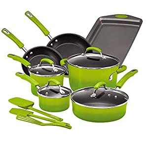 Rachael Ray Brights Nonstick Cookware Pots and Pans Set, 14 Piece, Green Gradient 7