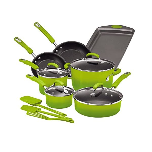 Rachael Ray Brights Nonstick Cookware Pots and Pans Set, 14 Piece, Green Gradient 1