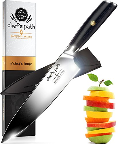 Best Kitchen Knife 8 Inch - Professional Chef Knife - Ultra Sharp Chefs Knife - German High Carbon Stainless Steel -Amazing Value with Sheath, Exquisite Gift Packaging & Booklet - CHEF'S PATH