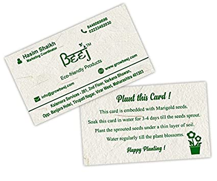 Beej seed paper visiting cards pack of 100 amazon office products beej seed paper visiting cards pack of 100 colourmoves