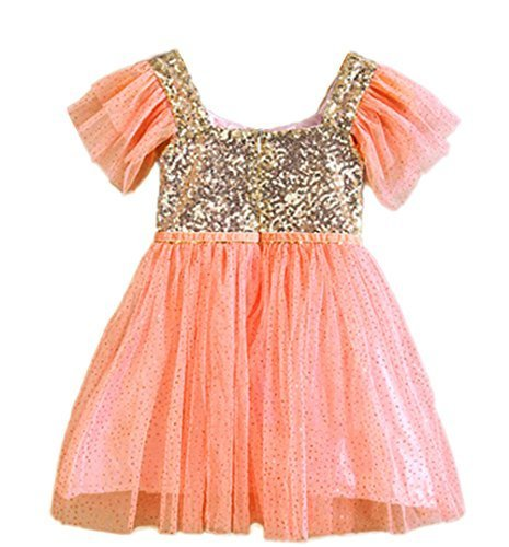 stylesilove Little Girls Princess Ballerina Party Gold Sequin Tulle Flower Dress - 6 Colors (130/3-4 Years, Coral) (Ballerina Princess Dress)