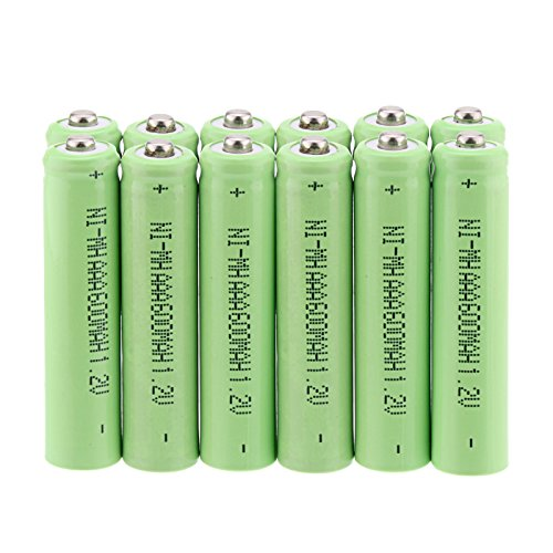 Windmax 12Pcs Green Color 3A AAA 1.2V 600mAh Rechargeable Battery White NiMH 3A Batteries for Solar - Nickel Metal X 1