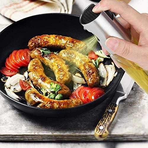 2PCS Dispensador de pulverizador Oliva Aceite 100ml, Rociador de vinagre, Botella de Vidrio para cocinar/Ensalada/Hornear Pan/BBQ/Cocina