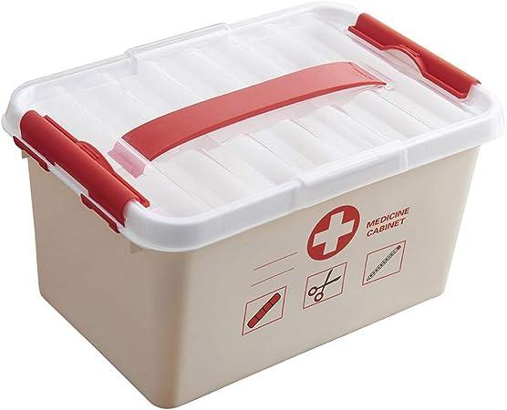 SUPVOX Cassetta di Pronto Soccorso Scatola di Medicina per La Famiglia Scatola di Immagazzinaggio Contenitore di Plastica per Uso Domestico Contenitore di Medicina Vuoto Custodia Rossa M