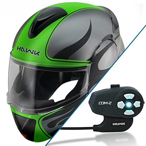 Hawk H-66 Blaze Matte Grey/Green Dual-Visor Modular Helmet with Hawk COM-2 Blue - Large w/ COM-2 Intercom