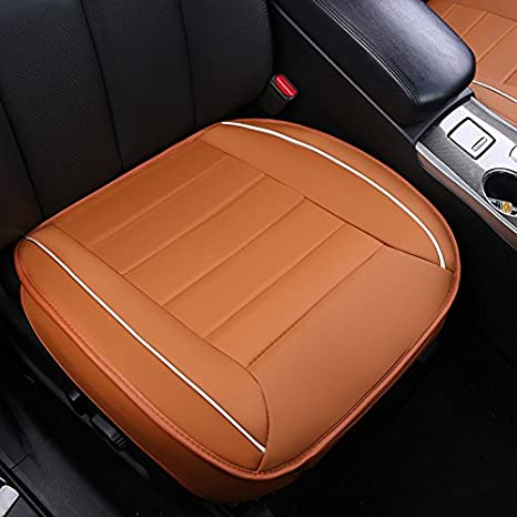 1 Pack Front Seat Cover Without Backrest HONCENMAX Luxury Car seat Cover Cushion Pad Mat Protector for Auto Supplies for Sedan Hatchback SUV PU leather