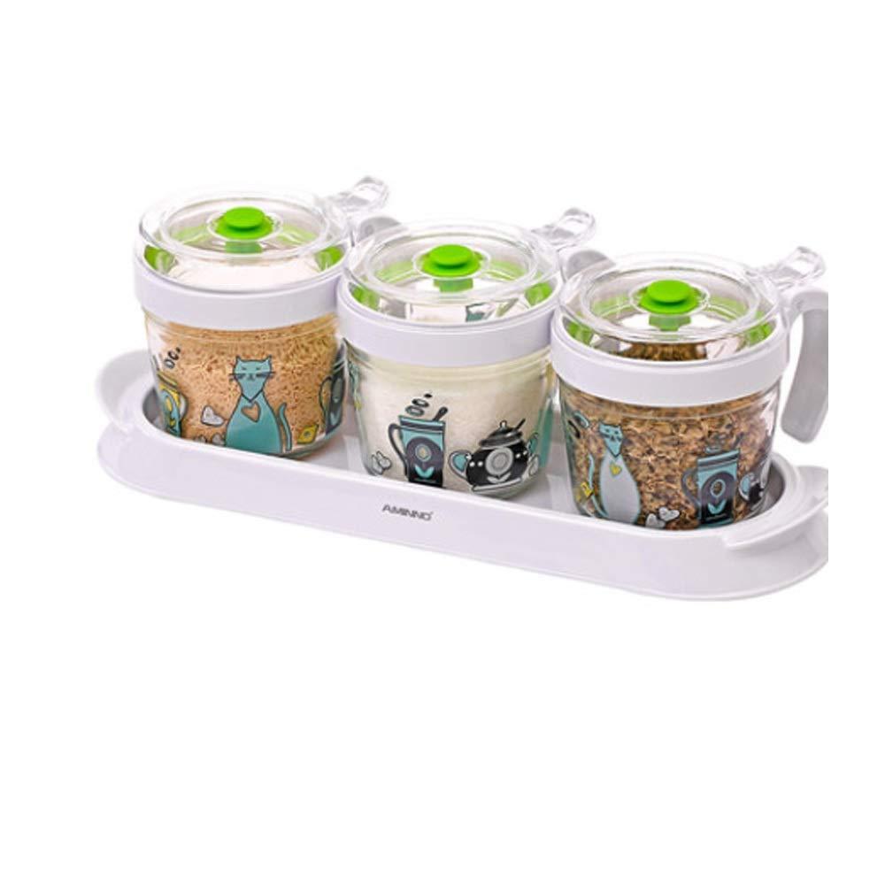 MINGRUIGONGMAO Seasoning seasoning box - 3 glass seasoning boxes, 3 plastic seasoning spoons, with glass lid/plastic tray。 Plush toys by MINGRUIGONGMAO