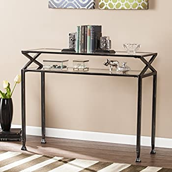 Southern Enterprises Kingsley Glass Media Console Table, Black With Silver  Distressed Finish